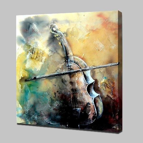 Hand Painted Artsy Violin And Bow Canvas Wall Art