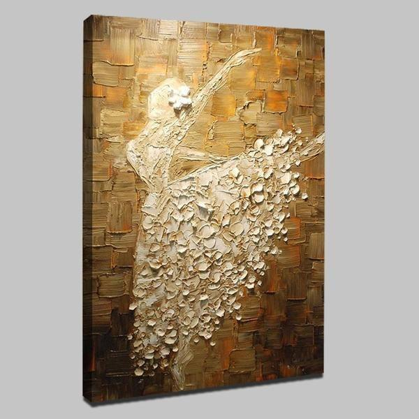 Hand Painted Ballet Woman In Long Gown Canvas Wall Art