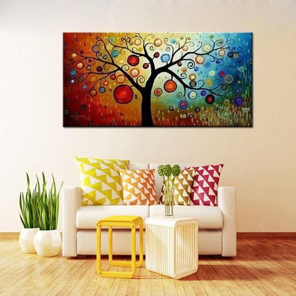 Hand Painted Tree Of Life Canvas Wall Art