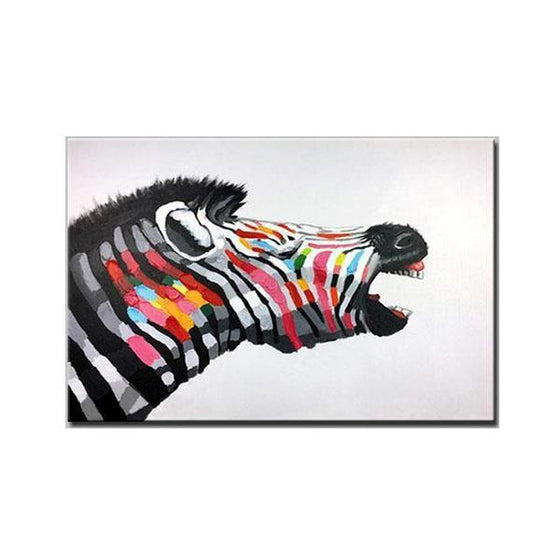 Hand Painted Express the Colorful Zebra Dreams Canvas Wall Art