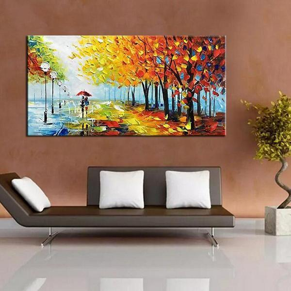 Hand Painted Couple Between Trees Canvas Wall Art