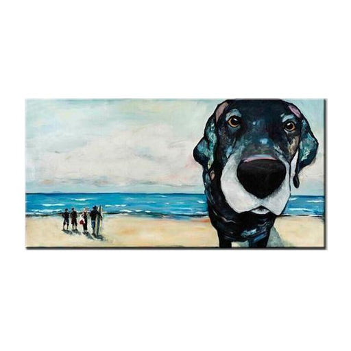 Hand Painted Beach Dog Close-Up Face Canvas Wall Art