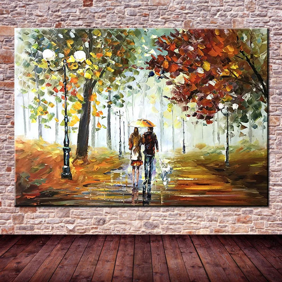 Hand Painted Couple Walking in the Rain Canvas Wall Art