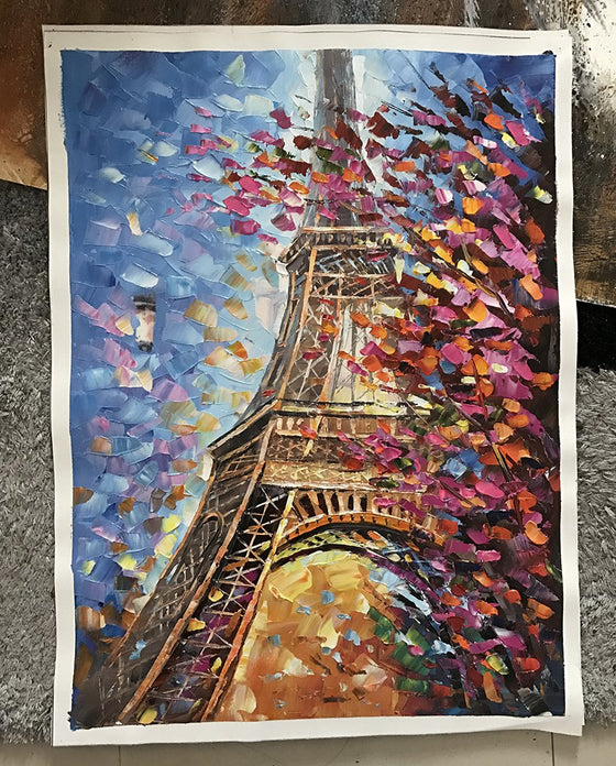 Hand Painted Eiffel Tower Canvas Wall Art
