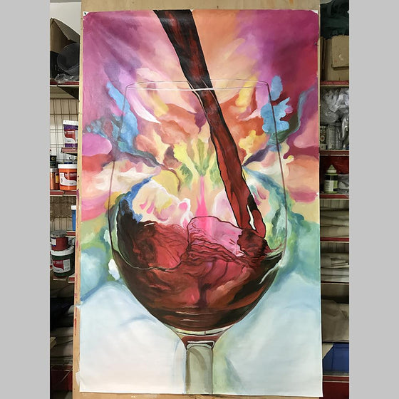 Hand Painted Abstract Glass of Red Wine Canvas Wall Art