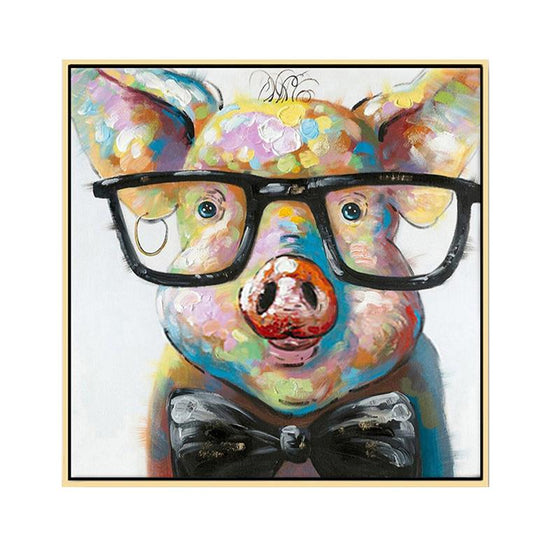 Hand Painted Pig with Eyeglasses Canvas Wall Art