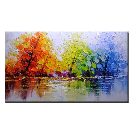 Hand Painted Shadow of Trees Canvas Wall Art