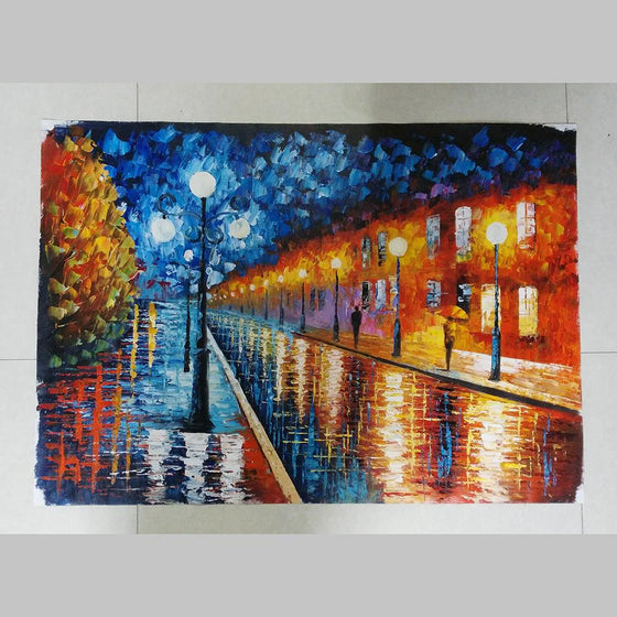 Hand Painted Blue Lights by Leonid Afremov Replica Canvas Wall Art