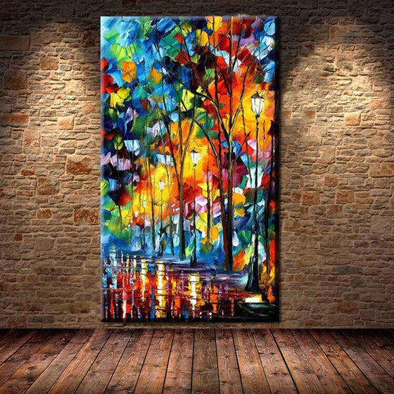 Hand Painted Sidewalk Lights by Leonid Afremov Replica Canvas Wall Art