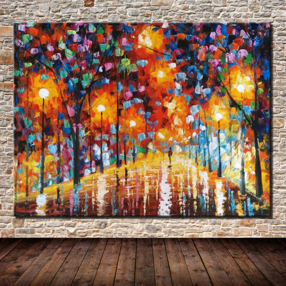 Hand Painted Lonely Walk by Leonid Afremov Canvas Wall Art