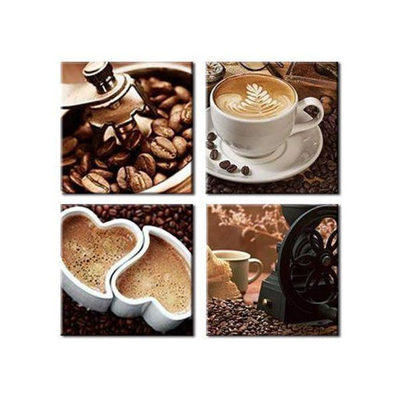 Heart Shaped Cups Of Coffee Canvas Wall Art