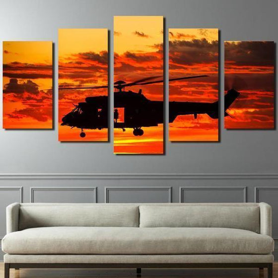 Helicopter Orange Sunset Canvas Living Room Wall Art