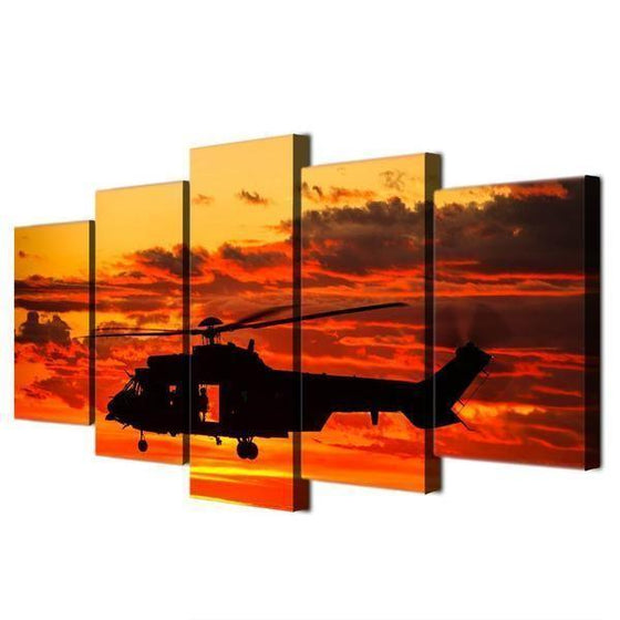 Helicopter Orange Sunset Canvas Office Wall Art