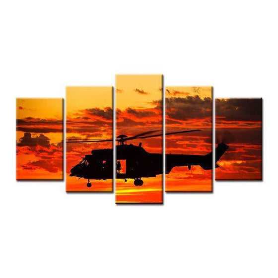 Helicopter Orange Sunset Canvas Wall Art