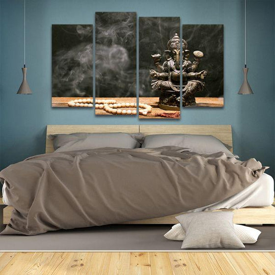 Hindu Elephant God Ganesh 4 Panels Canvas Wall Art Bedroom