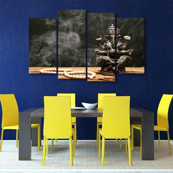 Hindu Elephant God Ganesh 4 Panels Canvas Wall Art Dining Room