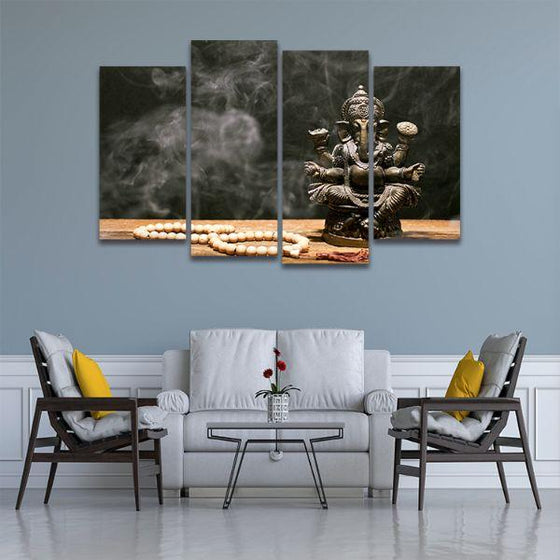 Hindu Elephant God Ganesh 4 Panels Canvas Wall Art Living Room