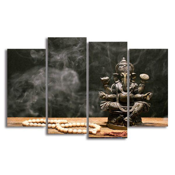 Hindu Elephant God Ganesh 4 Panels Canvas Wall Art