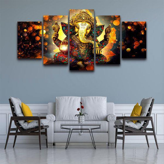Hindu God Ganesha Modular Canvas Wall Art Decor