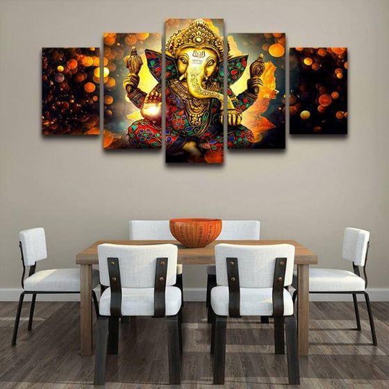 Hindu God Ganesha Modular Canvas Wall Art Dining Room