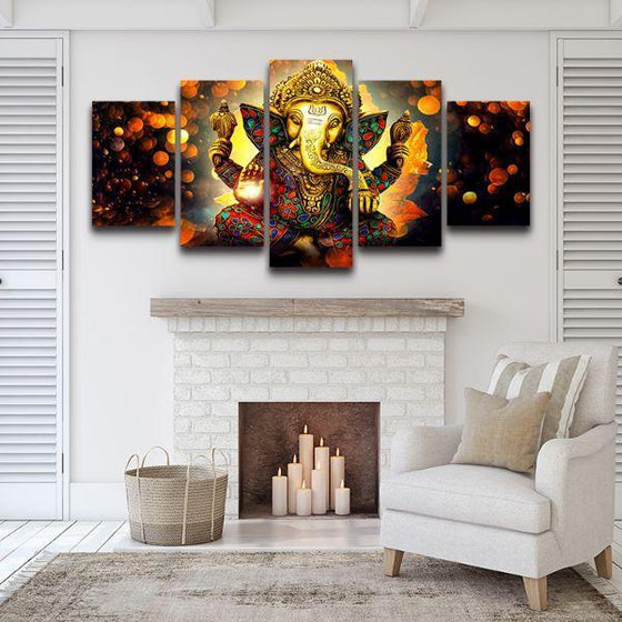 Hindu God Ganesha Modular Canvas Wall Art Set