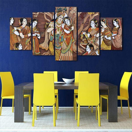 Hindu Gods Krishna & Radha 5-Panel Canvas Wall Art Dining Room
