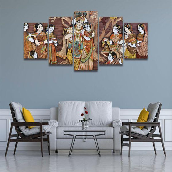 Hindu Gods Krishna & Radha 5-Panel Canvas Wall Art Living Room