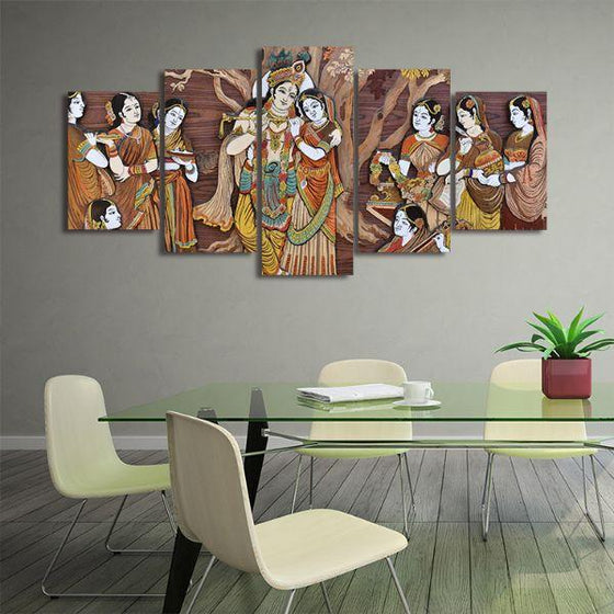 Hindu Gods Krishna & Radha 5-Panel Canvas Wall Art Office