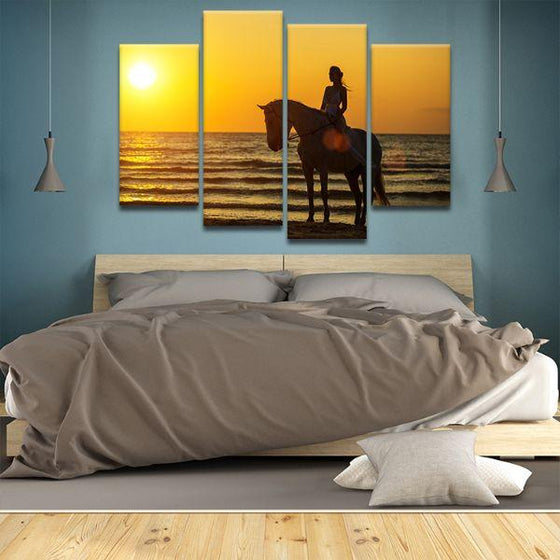 Horseback Riding At Sunset 4-Panel Canvas Wall Art Bedroom
