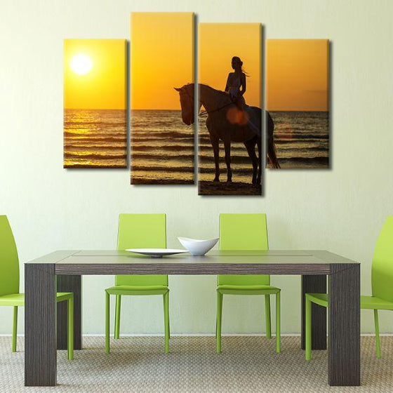 Horseback Riding At Sunset 4-Panel Canvas Wall Art Dining Room