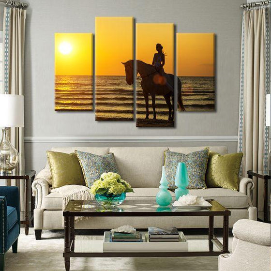Horseback Riding At Sunset 4-Panel Canvas Wall Art Living Room