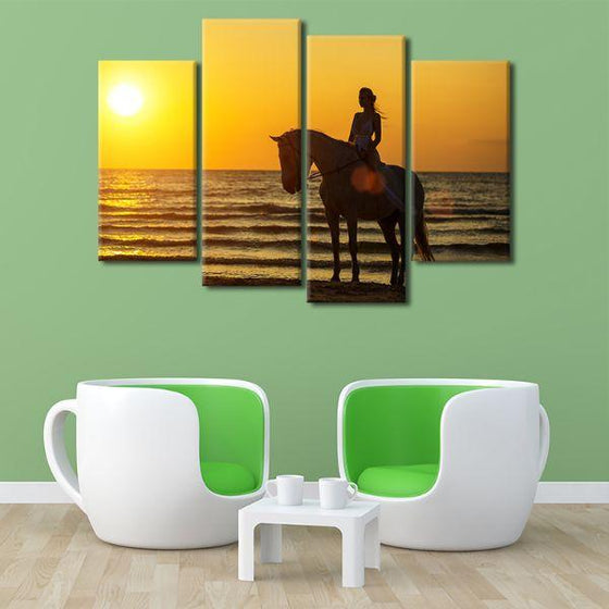 Horseback Riding At Sunset 4-Panel Canvas Wall Art Set