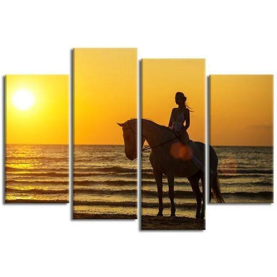 Horseback Riding At Sunset 4-Panel Canvas Wall Art