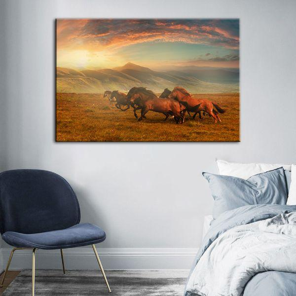 Horses At Assy Plateau Canvas Wall Art Decor