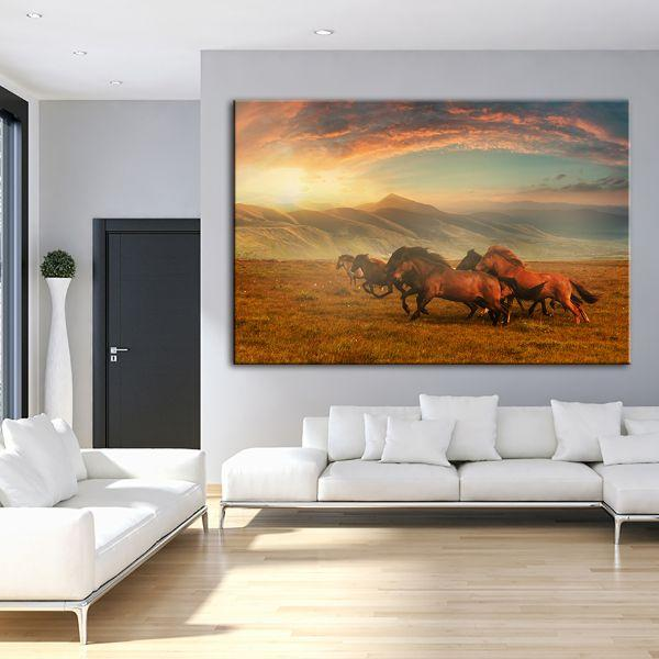 Horses At Assy Plateau Canvas Wall Art Living Room