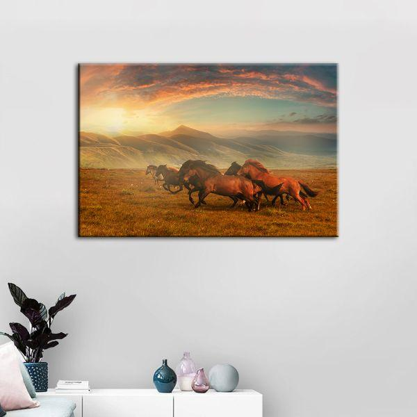 Horses At Assy Plateau Canvas Wall Art Print