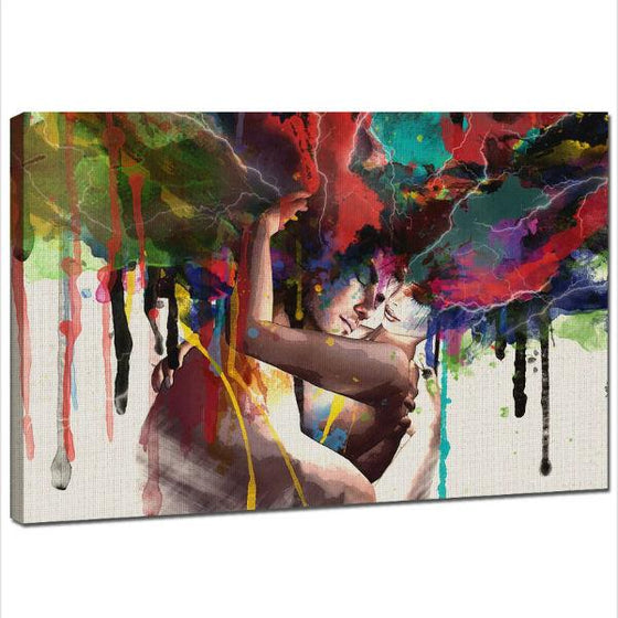 Hugging Couple Canvas Wall Art