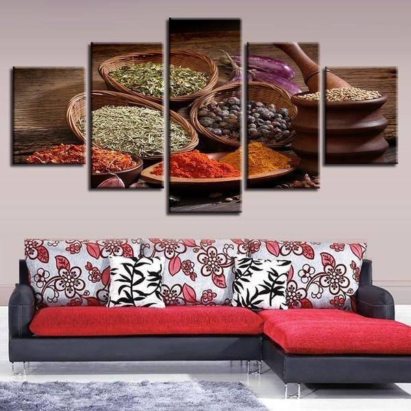 Spices In Wooden Bowls Canvas Wall Art