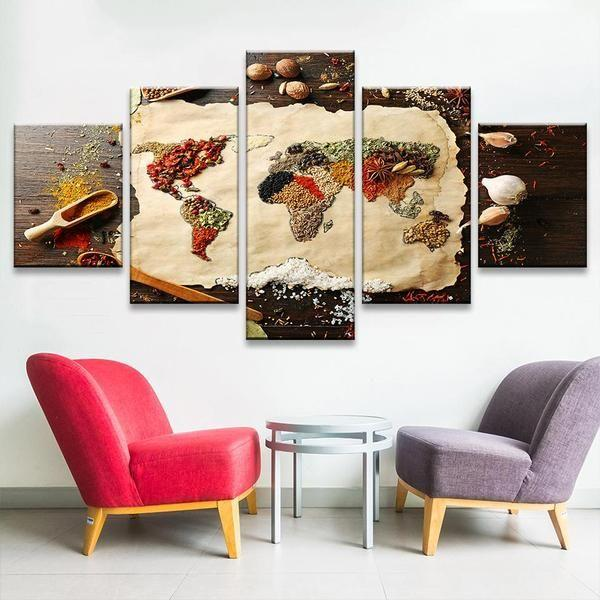 Spices formed into world map canvas wall art canvasx indian spices wall art ideas gumiabroncs Images