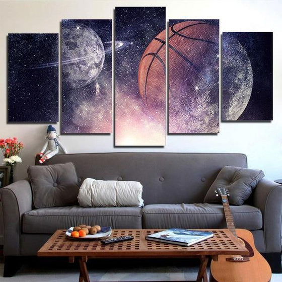 Abstract Basketball And Planets Starry Sky Night View Canvas Wall Art