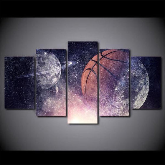 Abstract Basketball And Planets Starry Sky Night View Canvas Wall Art Prints
