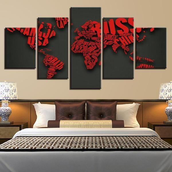 Red Letters Combine World Map Canvas Wall Art Canvasxnet - Iron world map wall art