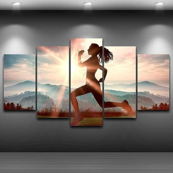 Fitness Run Sunshine Canvas Wall Art Home Decor