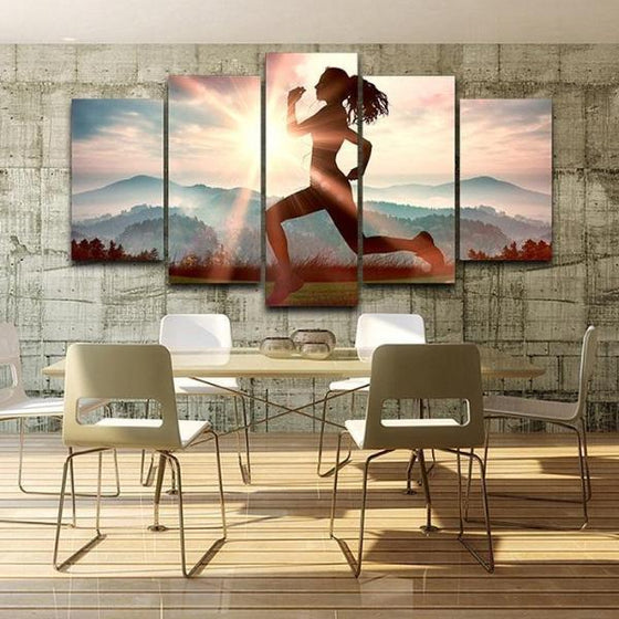 Fitness Run Sunshine Canvas Wall Art Dining Room