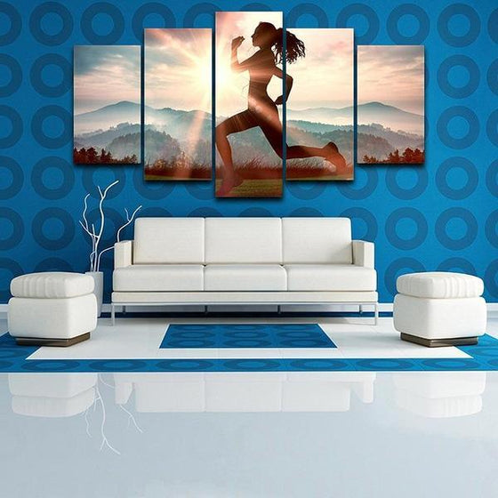 Fitness Run Sunshine Canvas Wall Art Living Room