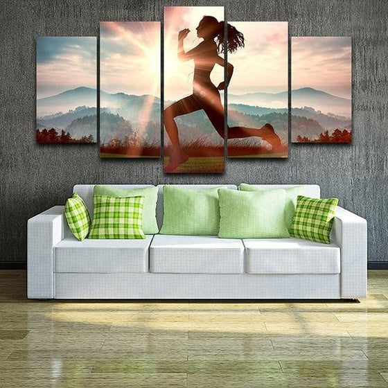 Fitness Run Sunshine Canvas Wall Art Decor