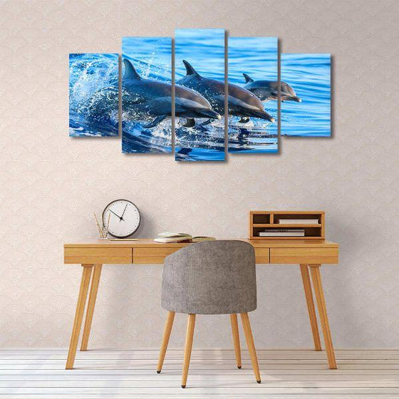 Jumping Dolphins 5 Panels Canvas Wall Art Decors
