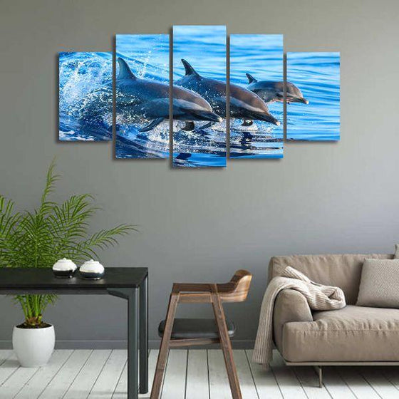 Jumping Dolphins 5 Panels Canvas Wall Art Dining Room