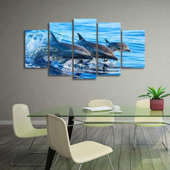 Jumping Dolphins 5 Panels Canvas Wall Art Office