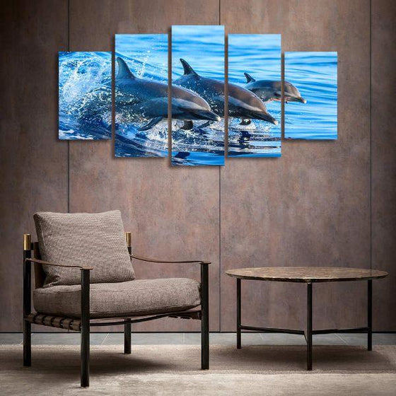 Jumping Dolphins 5 Panels Canvas Wall Art Prints